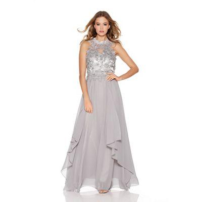 Quiz Light Grey Chiffon High Neck Lace Waterfall Maxi Dress
