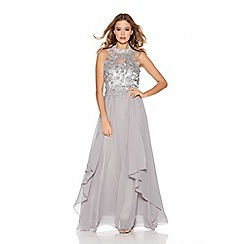 Quiz - Light Grey Chiffon High Neck Lace Waterfall Maxi Dress