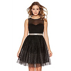 Quiz - Black and gold glitter mesh short dress