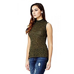 Quiz - Khaki knit sleeveless turtle neck top