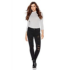 Quiz - Black ripped front skinny jeans