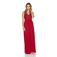 Quiz - Berry mesh lace diamante trim maxi dress