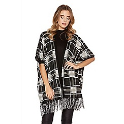 Quiz - Black Knit Check Tassel 1/2 sleeve Cardigan