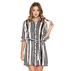 Quiz - White And Black Stripe Belt Shirt Dress