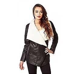 Quiz - Black And Cream Faux Fur Suedette Jacket