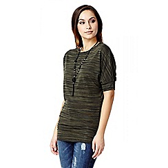 Quiz - Khaki Light Knit Lace Necklace Batwing Top