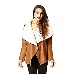 Quiz - Tan And Cream Faux Fur Suedette Jacket