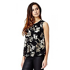 Quiz - Black And Gold Foil Flower Print Bubble Top
