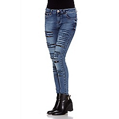Quiz - Blue Skinny Ripped Lace Jeans