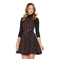 Quiz - Black And Red Check Print Skater Dress
