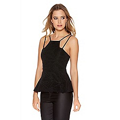 Quiz - Black Brillo Diamond Print Strap Top
