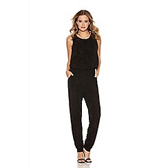 Quiz - Black Diamond Print Bubble Top Jumpsuit