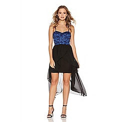 Quiz - Royal Blue Glitter Lace Chiffon Dip Dress