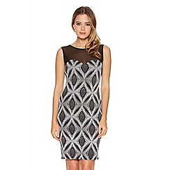 Quiz - Grey Diamond Mesh Sleeveless Bodycon Dress