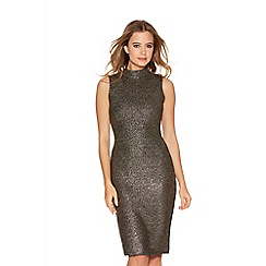 Quiz - Black and gold foil effect turtle neck dress