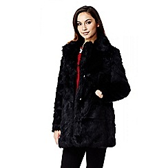 Quiz - Black Long Popper Faux Fur Long Sleeve Coat