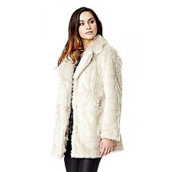 Quiz - Stone Long Popper Faux Fur Long Sleeve Coat