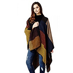 Quiz - Camel Check Print Blanket Stitch Cape