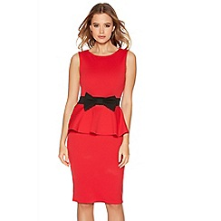 Quiz - Red Bow Peplum Dress