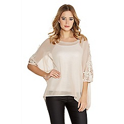 Quiz - Stone light knit lace diamante batwing top