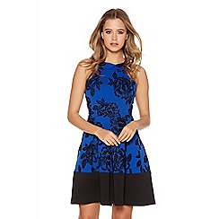 Quiz - Royal Blue Glitter Flock Skater Dress