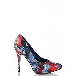 Quiz - Multi Coloured Floral Court Shoes
