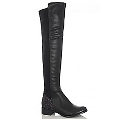Quiz - Black Diamante High Leg Boot