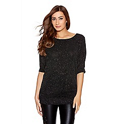 Quiz - Black brillo lace back top