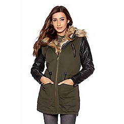 Quiz - Khaki canvas faux fur hood jacket