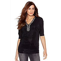 Quiz - Black Brillo Diamante Neck Trim Top