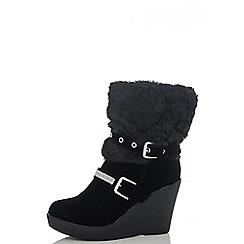 Quiz - Black Fur Diamante Eyelet Wedge Boots