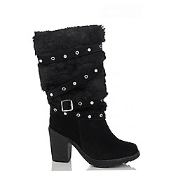 Quiz - Black Diamante Eyelet Faux Fur Calf Boots