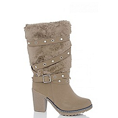Quiz - Beige Diamante Eyelet Faux Fur Calf Boots