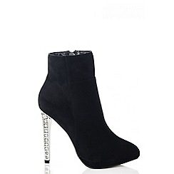 Quiz - Black Faux Suede Diamante Heel Shoe Boots