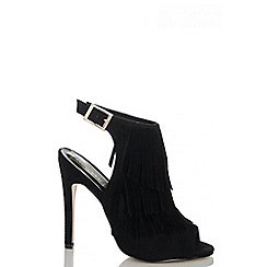 Quiz - Black Faux Suede Fringe Sling Back Shoes