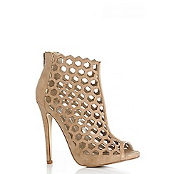 Quiz - Nude Faux Suede Cut Out Shoe Boots