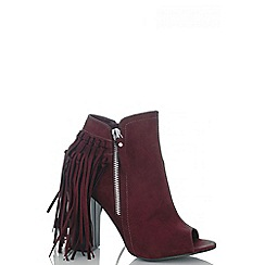 Quiz - Wine peep toe fringe shoe boots