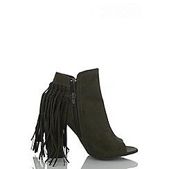 Quiz - Khaki Peep Toe Fringe Shoe Boots