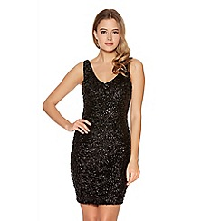 Quiz - Black Sequin V Neck Bodycon Dress