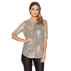 Quiz - Gold Foil Knit Cut Out Shoulder Top
