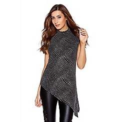Quiz - Black And Silver Brillo Asymmetrical Top