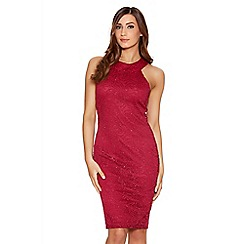 Quiz - Berry Glitter Lace Midi Dress