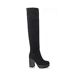Quiz - Black Faux Suede Chunky Heel Over The Knee Boots
