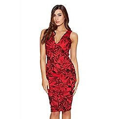 Quiz - Red And Black Glitter Flower Flock Dress