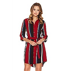 Quiz - Wine Stripe Crepe Long Shirt Dress