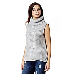 Quiz - Grey Knit Cowl Neck Split Jumper