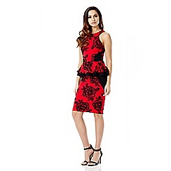 Quiz - Red Flock Flower Glitter Print Peplum Dress