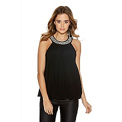 Quiz - Black Bubble Diamante Trim Top