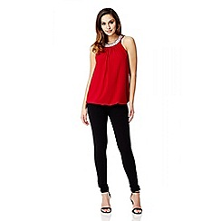 Quiz - Red Bubble Diamante Trim Top