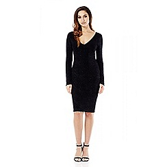 Quiz - Black Brillo Diamante Print Long Sleeve Dress
